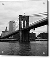 View Of New York From Beneath The Brooklyn Bridge New York Acrylic Print