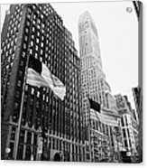 view of pennsylvania bldg nelson tower and US flags flying on 34th street new york city Acrylic Print