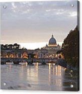 View Of St Peter's Basilica And Saint Angel Bridge Acrylic Print