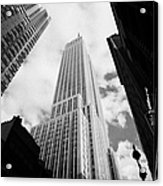 View Of The Empire State Building And Surrounding Buildings And Cloudy Sky West 33rd Street New York Acrylic Print