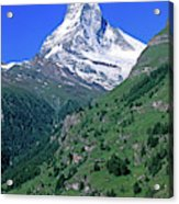 View Of The Matterhorn And The Town Acrylic Print