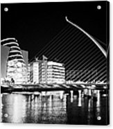 View Of The Samuel Beckett Bridge Over The River Liffey And The Convention Centre Dublin At Night Du Acrylic Print by Joe Fox