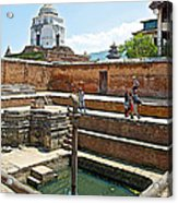 View Of White Temple From Pool Area Behind Bhaktapur Durbar Square In Bhaktapur-nepal - Acrylic Print