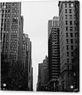 View Up 6th Ave Avenue Of The Americas From Herald Square In The Evening New York City Winter Acrylic Print by Joe Fox