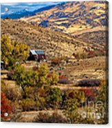 Viewing The Old Barn Acrylic Print by Robert Bales