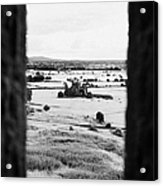 viewpoint looking out through stone fortifications towards hore abbey from the Rock of Cashe Acrylic Print