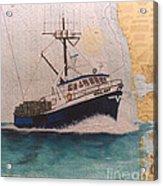 Vigilant Crab Fishing Boat Nautical Chart Art Acrylic Print