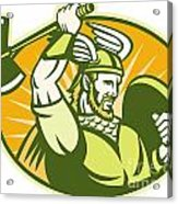 Viking Raider Barbarian Warrior Retro Acrylic Print