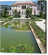 Villa Ephrussi De Rothschild With Reflection Acrylic Print