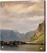 Village And Fjord Among Mountains Acrylic Print