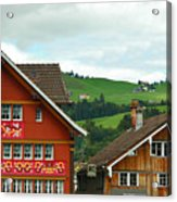 Hotel Santis And Hillside Of Appenzell Switzerland Acrylic Print