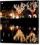 Village Reflected In The Water Acrylic Print