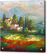 Village With Poppy Fields  Acrylic Print