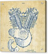 Vintage 1923 Harley Engine Patent Artwork Acrylic Print