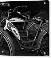 Vintage 1941 Boys And 1946 Girls Bicycle 5d25760 Black And White Acrylic Print by Wingsdomain Art and Photography
