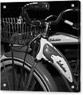 Vintage 1941 Boys And 1946 Girls Bicycle 5d25760 Square Black And White Acrylic Print by Wingsdomain Art and Photography