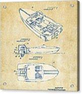 Vintage 1972 Chris Craft Boat Patent Artwork Acrylic Print