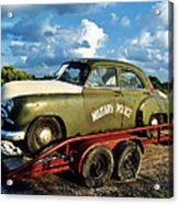 Vintage American Military Police Car Acrylic Print by Kathy Fornal