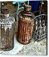 Hdr Vintage Art  Cans And Bottles Acrylic Print