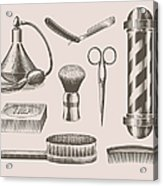 Vintage Barbershop Objects Acrylic Print