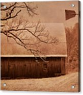 Vintage Barn And Windmill Winter Acrylic Print