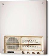 Vintage Beige Radio Sitting On Wood Acrylic Print