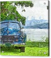 Vintage Blue Caddy At Lake George New York Acrylic Print