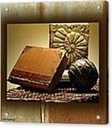Vintage Book Fossil And Carved Orb Acrylic Print
