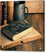 Vintage Books And Eyeglasses Acrylic Print