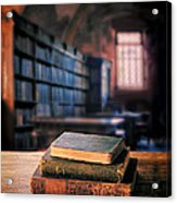 Vintage Books And Glasses In An Old Library Acrylic Print