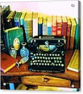 Vintage Books And Typewriter Acrylic Print