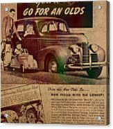 Vintage Car Advertisement 1939 Oldsmobile On Worn Faded Paper Acrylic Print