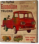 Vintage Car Advertisement 1961 Ford Econoline Truck Ad Poster On Worn Faded Paper Acrylic Print