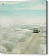 Vintage Car Driving Into Clouds Acrylic Print