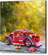 Vintage Car With Autumn Leaves Acrylic Print