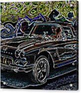 Vintage Chevy Corvette Black Neon Automotive Artwork Acrylic Print