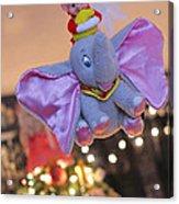 Vintage Christmas Elf Flying With Dumbo Acrylic Print