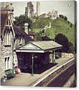 Vintage Corfe Castle Acrylic Print
