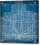 Vintage Detroit Rail Concept Street Map Blueprint Plan Acrylic Print