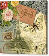 Vintage Eiffel Tower Paris France Collage Acrylic Print