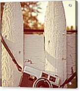 Vintage Film Camera On Picket Fence Acrylic Print by Edward Fielding