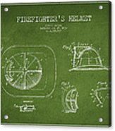 Vintage Firefighter Helmet Patent Drawing From 1932 - Green Acrylic Print