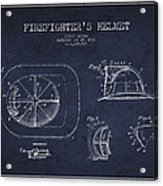 Vintage Firefighter Helmet Patent Drawing From 1932 - Navy Blue Acrylic Print
