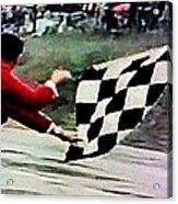 Vintage Formula Race Checkered Flag Acrylic Print
