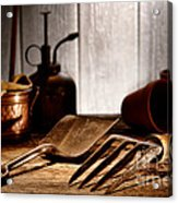 Vintage Gardening Tools Acrylic Print by Olivier Le Queinec