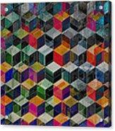 Vintage Geometric Cubes Acrylic Print