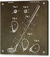 Vintage Golf Club Patent Acrylic Print