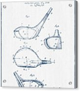 Vintage Golf Club Patent Drawing From 1926 - Blue Ink Acrylic Print