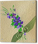 Vintage Greeting. Bouquet Of Purple Spray Flowers With Green Ribbon.  Acrylic Print