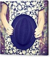 Vintage Hat Flower Dress Woman Acrylic Print